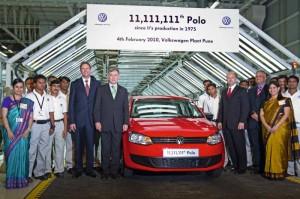 11.111.111. Polo läuft bei der Volkswagen Group India vom Band: Bundespräsident Köhler zu Gast beim Produktionsjubiläum in Pune